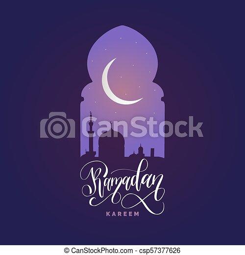 Ramadan kareem calligrafia. Ilustración de vectores de símbolos navideños islámicos. Vista nocturna de la mezquita desde Arch. - csp57377626