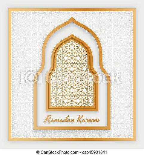 Ramadan kareem fondo. Ventana árabe islámica. Tarjeta de bienvenida. Ilustración de vectores. - csp45901841