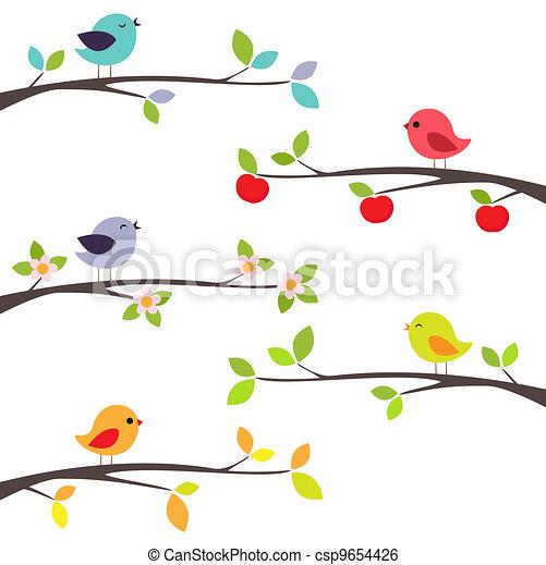 Pájaros sobre ramas - csp9654426