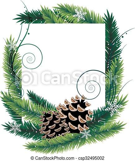 Ramas de pino y conos - csp32495002