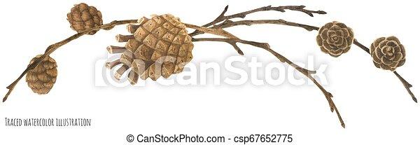 Garland del Bosque Seco con conos y ramas - csp67652775
