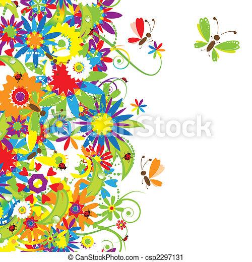 ramo floral, ilustración de verano - csp2297131