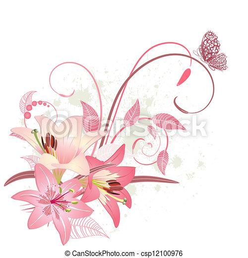 Bouquet de lirios rosas - csp12100976