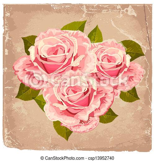 Un ramo de rosas en un diseño retro - csp13952740