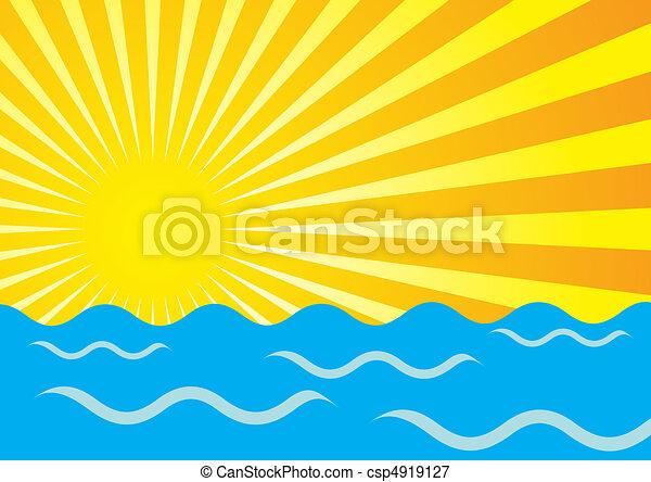 Rayos solares y océano - csp4919127