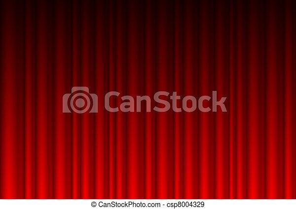 Cortina roja realista - csp8004329