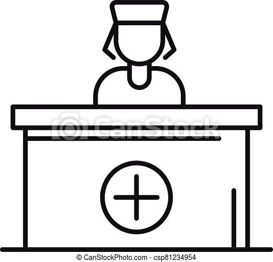 recepción, estilo, icono, hospital, contorno - csp81234954