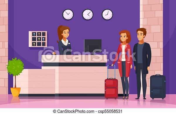 Fondo de dibujos animados de recepción del hotel - csp55058531