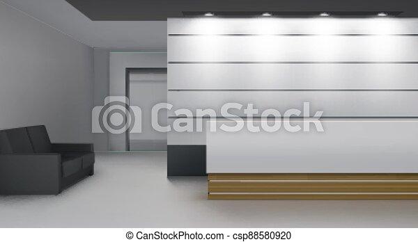 recepción, interior, vestíbulo, sitio moderno, levantamiento - csp88580920