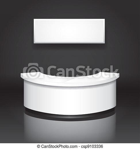 Recepción/exhibición en el mostrador con placa - csp9103336