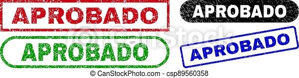 rectángulo, superficie, aprobado, sellos, sucio - csp89560358