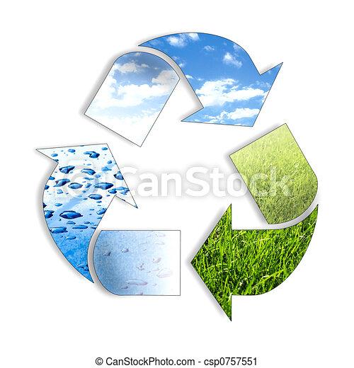 Tres elementos que reciclan el símbolo - csp0757551