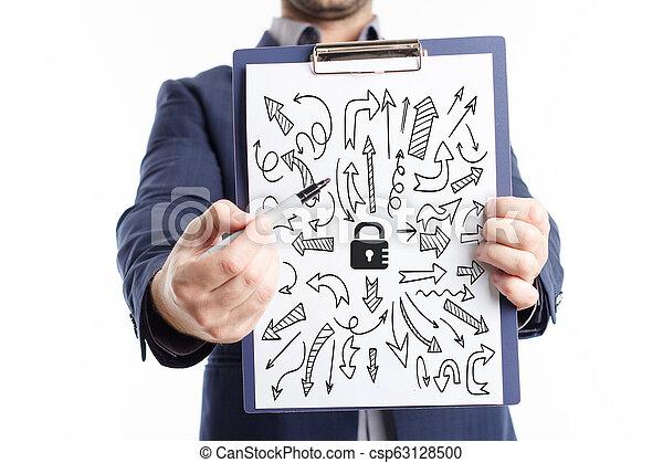 Negocios, tecnología, Internet y el concepto de red. El joven hombre de negocios muestra la palabra: - csp63128500