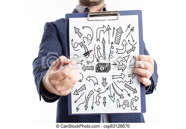 Negocios, tecnología, Internet y el concepto de red. El joven hombre de negocios muestra la palabra: - csp63128670