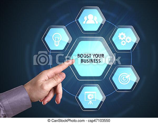 Negocios, tecnología, Internet y el concepto de red. Un joven hombre de negocios muestra la palabra - csp47103550