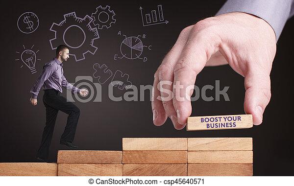 Negocios, tecnología, Internet y el concepto de red. Un joven hombre de negocios muestra la palabra - csp45640571