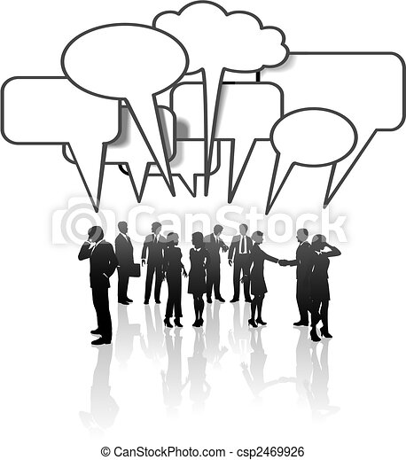 Los de la cadena de comunicaciones hablan en equipo - csp2469926