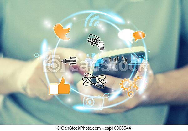 Medios sociales, concepto de red social - csp16068544