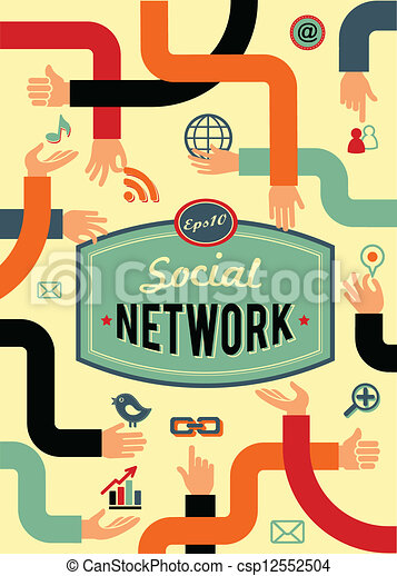 Red social, medios de comunicación y comunicación al estilo antiguo - csp12552504