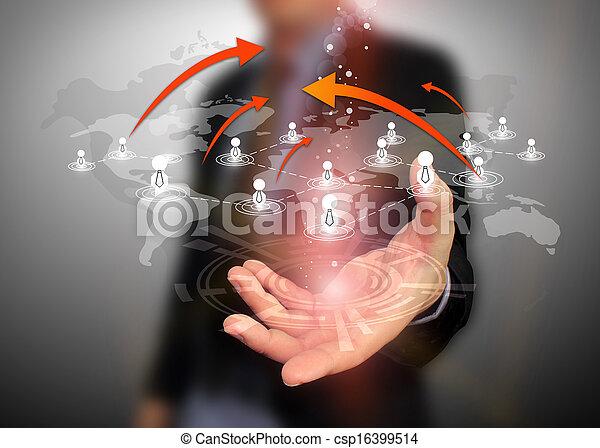 El hombre de negocios tiene una red social - csp16399514