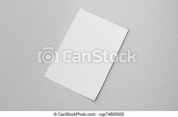 reemplazar, ilustración, diseño, 3d, gris, render, vacío, aislado, hoja, blanco, su - csp74805005