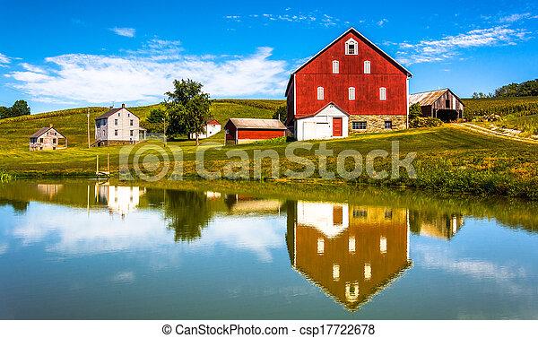 Reflexión de casa y granero en un pequeño estanque, en el condado rural de York, Pennsylvania. - csp17722678