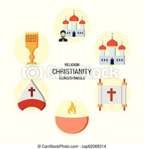 Los iconos religiosos marcan vector - csp62068314