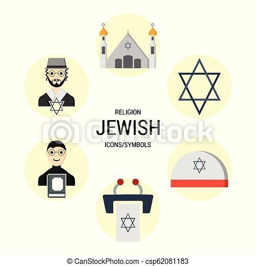 Los iconos religiosos marcan vector - csp62081183
