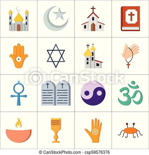 Los iconos religiosos marcan vector - csp59576376