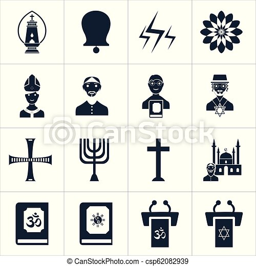 Los iconos religiosos marcan vector - csp62082939