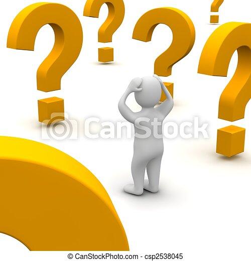 Hombre confundido y marcas de preguntas. 3d ilustrado. - csp2538045