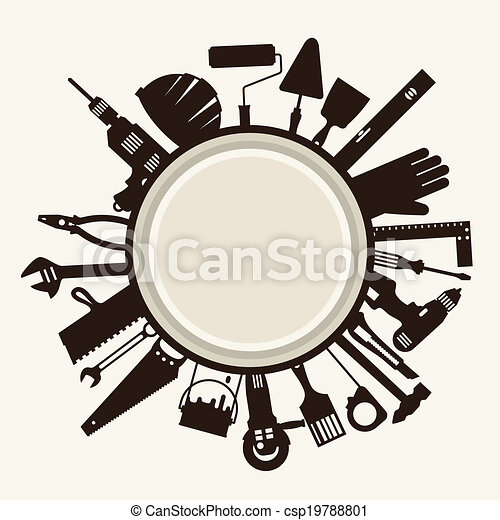 Reparación y ilustración de construcción con íconos de herramientas de trabajo. - csp19788801