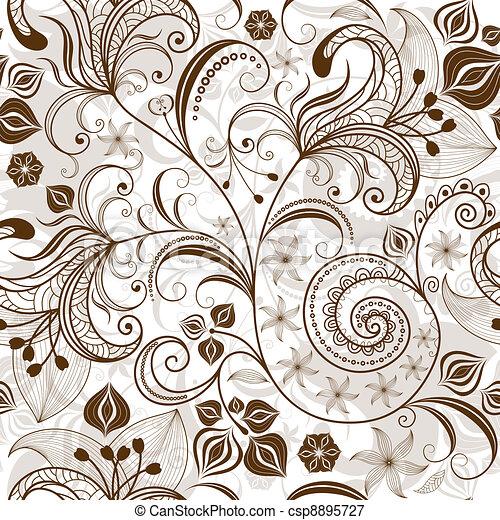 Repetición de floral marrón blanco - csp8895727