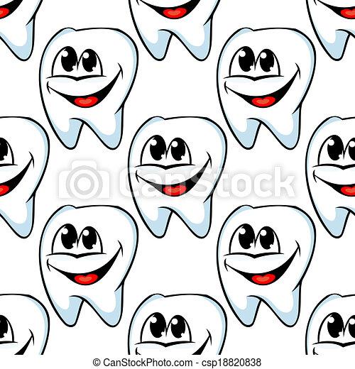 Repetir patrón de dientes sanos y felices - csp18820838