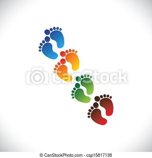 Parejas de patas coloridas del bebé para el jardín de infantes. Esta ilustración puede representar a la escuela de juegos, la guardería o la preescolar de los niños y niños, o centros de cuidados infantiles, etc - csp15817138