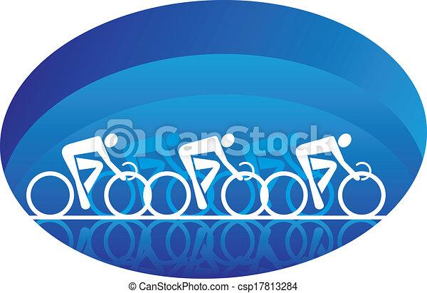 Secuestrar a tres ciclistas de carreras, aislados en blanco - csp17813284