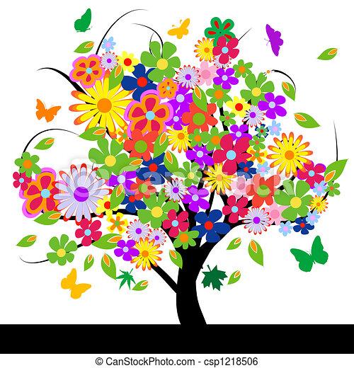 Árbol abstracto con flores - csp1218506