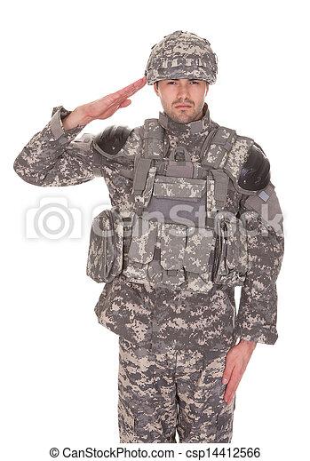 Retrato de hombre con uniforme militar saludando - csp14412566