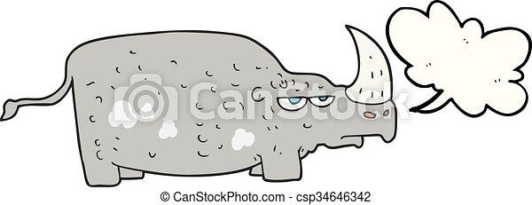 Rhino de dibujos animados de burbujas - csp34646342