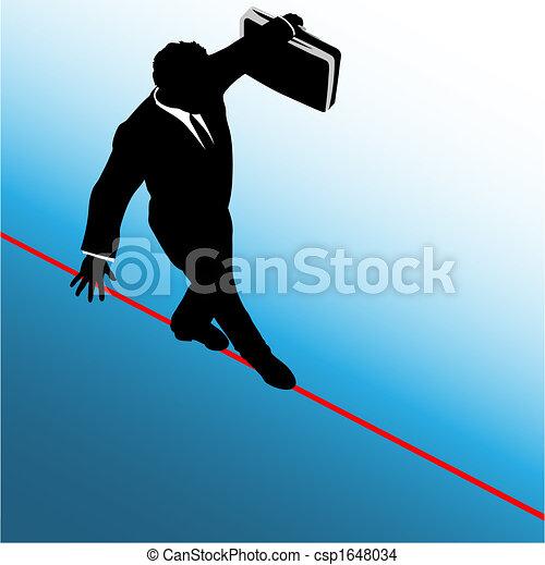 El hombre de negocios del símbolo camina por la cuerda floja - csp1648034