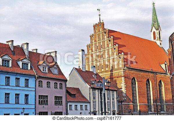 riga, iglesia, s., pueblo, viejo, john's - csp87161777