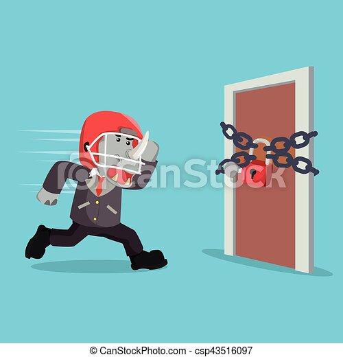 Rinoceronte de negocios corriendo a una puerta - csp43516097
