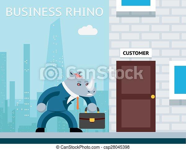 Rinoceronte de negocios. Un hombre de negocios enojado - csp28045398