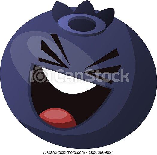 El arándano se divierte y ríe el vector de ilustración de fondo blanco - csp68969921