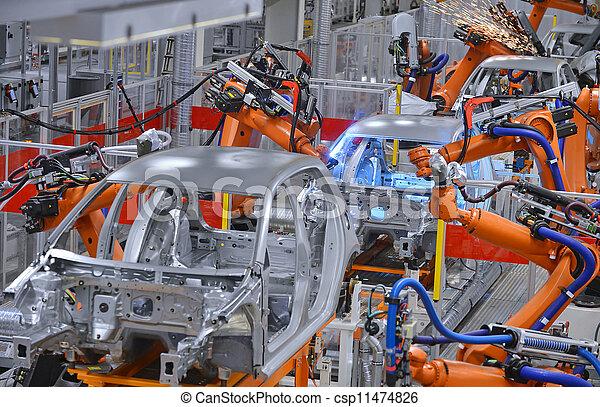 Robots soldando en la fábrica - csp11474826