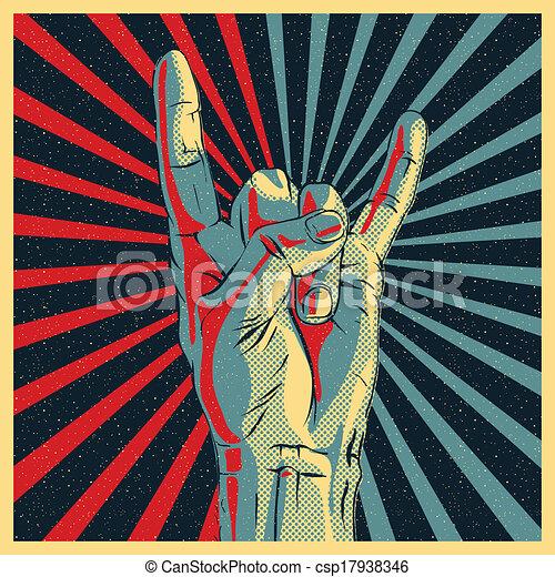 Entrega el letrero de rock n roll - csp17938346