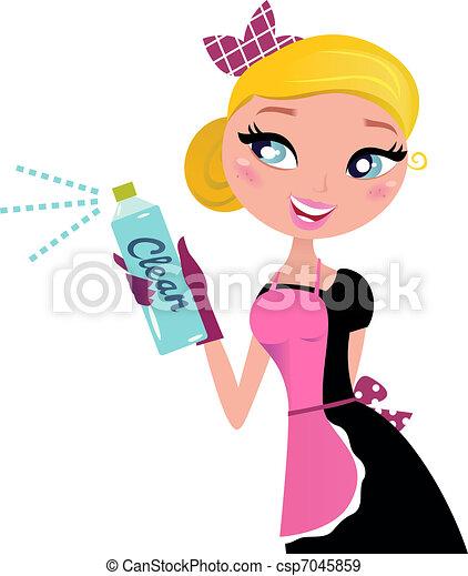 ¿Ama de casa? La doncella francesa con spray de limpieza - csp7045859