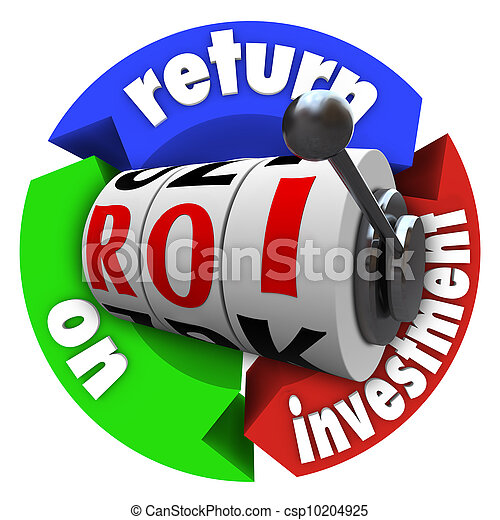 ROI regresa en las máquinas tragaperras de inversión palabras acrónimo - csp10204925