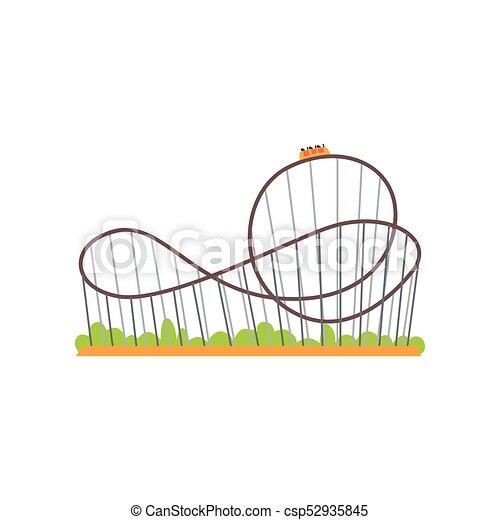Rollercoaster con tren. Una atracción extrema. El concepto del parque de diversiones familiar. Un colorido y plano icono de diseño de vectores para poster, pancarta o volante - csp52935845