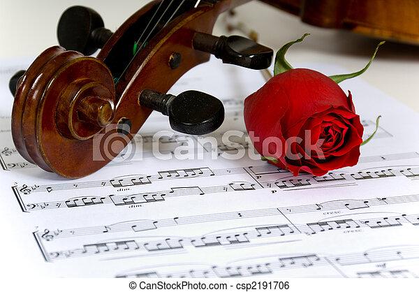 Violín, rosas y partituras - csp2191706